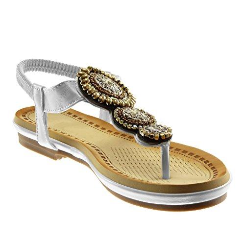 Angkorly Zapatillas Moda Sandalias Chanclas Correa de Tobillo Slip-On Correa Mujer Joyas Fantasía Strass Tacón Ancho 3 cm Blanco