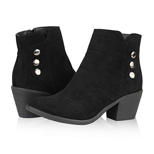 Yeviavy Women's Ankle Boots - Western Booties Low Heel Side Zipper and Studded Design Jill Black Micro Suede 11