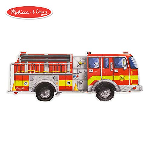 Melissa & Doug Giant Fire Truck Floor Puzzle (Easy-Clean Surface, Promotes Hand-Eye Coordination, 24 Pieces, 48