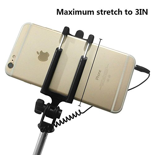 selfie stick bogzon battery free wired selfie stick for iphone se 6s 6s plus 6 6 plus 5s. Black Bedroom Furniture Sets. Home Design Ideas