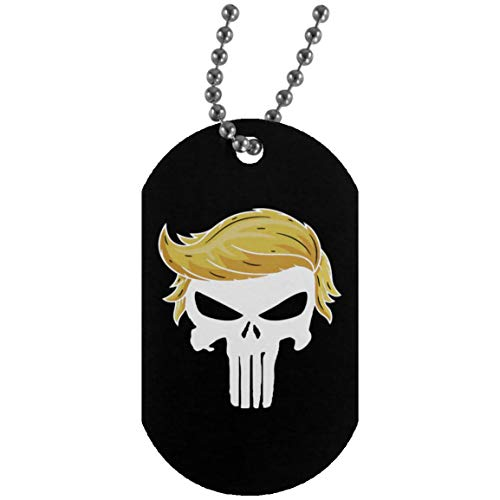 Trump Punisher - Funny Vintage Trending Awesome Dog Tag Military Necklace Army Punisher Movie Fans Unisex Style SMLBOO (Silver Dog Tag;Black;One Size) Dog Tag Style Fan Tags