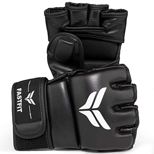 MMA Gloves PU Leather Fighting Gloves for Men and Women-Fingerless Gloves Perfect for MMA,Punching Bag,Kickboxing,Muay…