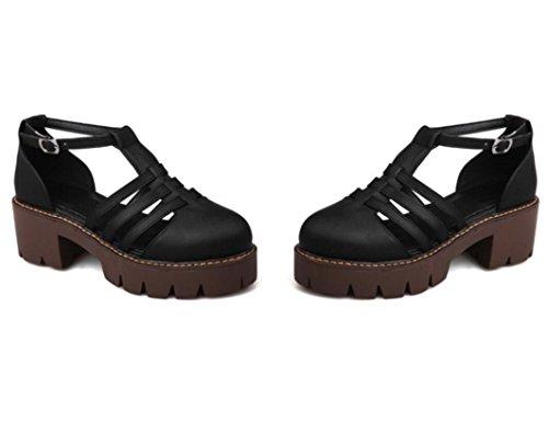 Tres 36 Cómodo Tacón Apricot Estudiantes Palabras De Xie Colores 5cm Retro Lady Banda Áspero College Bottom Thick Shoes Verano 39 w60qxwH7