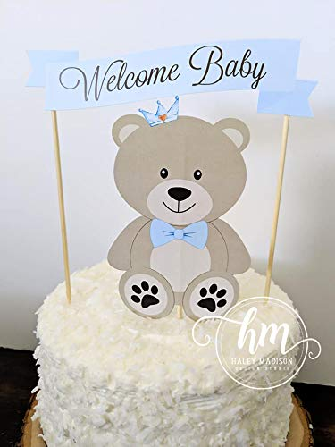 (Teddy Bear Baby Shower Cake Topper, Teddy Bear Diaper Cake topper decorations )
