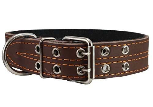 """Genuine Leather Dog Collar, Padded, Brown 1.5"""" Wide. Fits 18""""-22"""" Neck Size Cane Corso Rottweiler"""