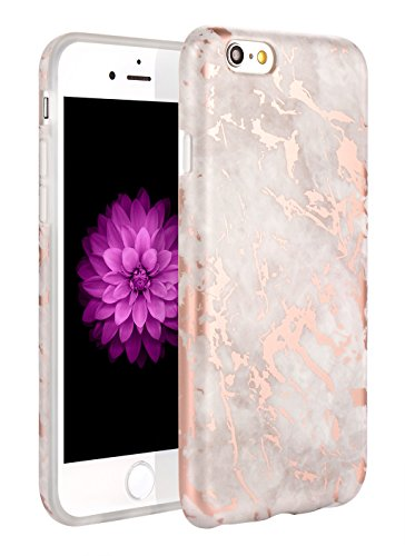 iphone 6 6s Case, WORLDMOM Marble Pattern Slim TPU Rubber Hybrid Anti-Scratch Shockproof Protective Case for iPhone 6 6s 4.7