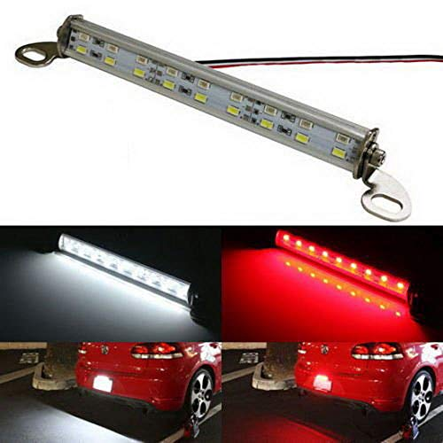 iJDMTOY (1 Universal Fit White/Red 18-SMD LED Lamp for License Plate Lights, Backup Lights and Brake or Rear Fog Lights