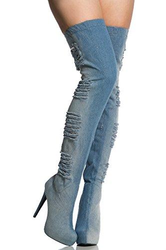 High Boots Heels High the Pointed toe Womens AIWEIYi Stilettos Blue Denim Boots Over Thigh Knee gYO7qx