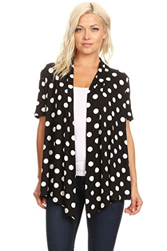 Solid & Printed Short Sleeves Open Front Draped Cardigan/MADE IN USA Black Polka Dot L (Dot Cardigan Sweater)