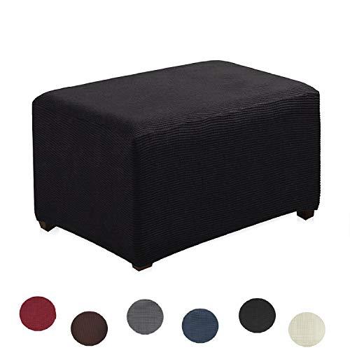 Argstar Jacquard Ottoman Cover Fleece Protector Stretch Slipcover Elastic Black for Sofa ()