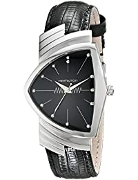 Mens H24411732 Ventura Stainless Steel Watch with Black Leather Band