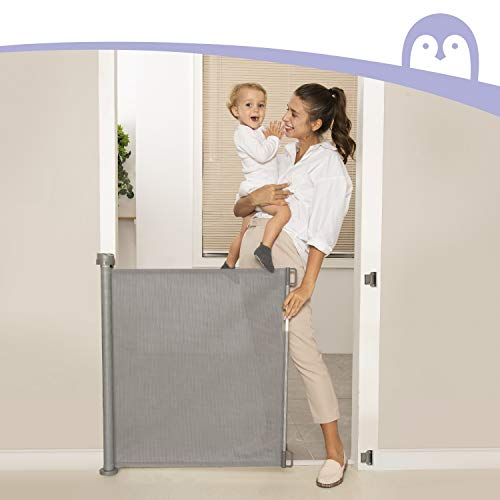 """41TjHJsghGL - Retractable Baby Gate, Momcozy Mesh Safety Gate For Babies And Pets, Extra Wide Safety Baby Gate 33.7"""" Tall, Extends To 55"""" Wide, Pet Dog Gate For Doorways, Stairs, Hallways, Indoor/Outdoor (Grey)"""