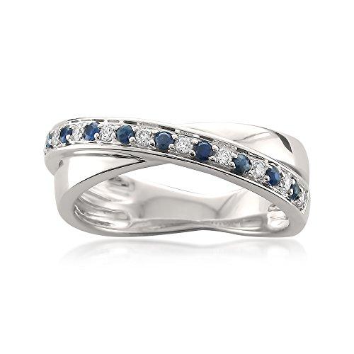 14k White Gold Round Diamond & Blue Sapphire Infinity Band Ring (1/4 cttw, I-J, I1-I2), Size 8