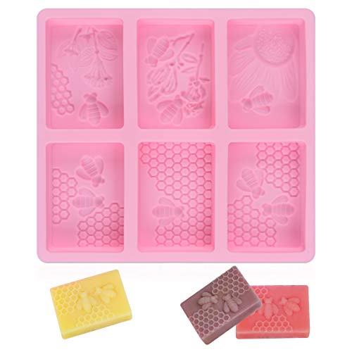 - SJ 3D Bee Silicone Molds, Honeycomb Molds for Soaps, Rectangle Cake Baking Mold, Resin Mold Beehive Candle Mold for Homemade Craft (square, pink)
