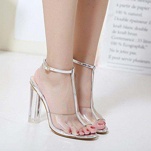 Peep Partie Chaussures Sangle Modèle Robe Chaussures Chunky Cheville Nu Toe Femmes LINYI Silver D'été Sandales CIqHf