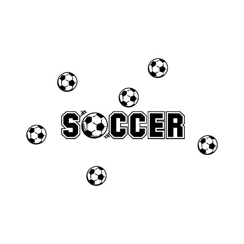Rumas Soccer Wall Sticker Decor for Kids Room - Removable Wall Murals for Home & Kitchen Wall Ornament - Art DIY Wallpaper Peel and Stick (Black)
