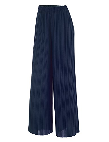 WB1795 Womens Pleated Wide Leg Pants with Elastic Waist Band-Made in USA S Navy