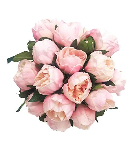 FRP Flowers Artificial Real Touch Small Peony Flowers for Bridal Bouquets, Home Decor, and Flower Arrangements (Blush Pink)