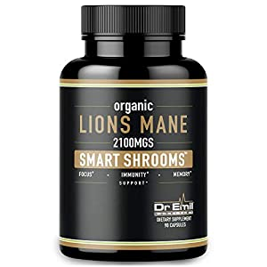 Gut Health Shop 41TjI5qNMIL._SS300_ Dr. Emil Nutrition Organic Lions Mane Mushroom Capsule with Absorption Enhancers, Powerful Nootropic Brain Supplement…