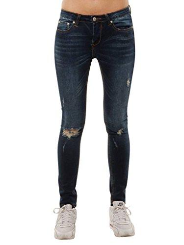 Dunkle destroyed jeans damen