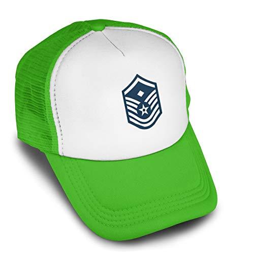 Unisex Air Force Master Sergeant 1st SGT Diamond Rank Adjustable Trucker Hats Cotton Mesh Baseball Cap Green