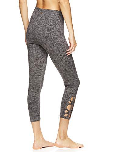 Gaiam Women's Om High Rise Waist Yoga Pants - Performance Spandex Compression Leggings - Hi Rise Relax Charcoal Heather, Large