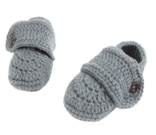 Smile YKK Strickschuh Strick Schuh Baby Unisex süße Stil One-Size 11cm Knopf Grau