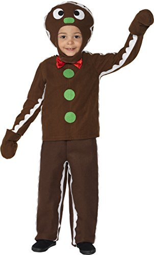 Man Halloween Gingerbread Costumes (Smiffy's Children's Little Gingerbread Man Costume, Top, Trousers &)