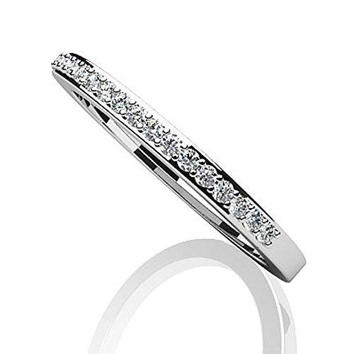 14K Or blanc élégant Diamant Bague de mariage