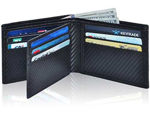 Clifton Heritage Men's Leather RFID Blocking Bifold Wallet (Small, Black Carbon Fibre)