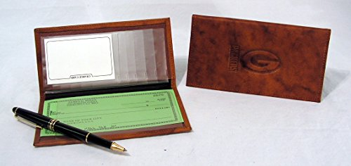 Green Bay Packers NFL Standard Embossed Brown Leather Checkbook Cover