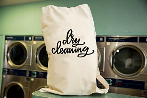 Dry Cleaning Laundry Bag in Natural Color with Drawstring to close and strap for Carrying