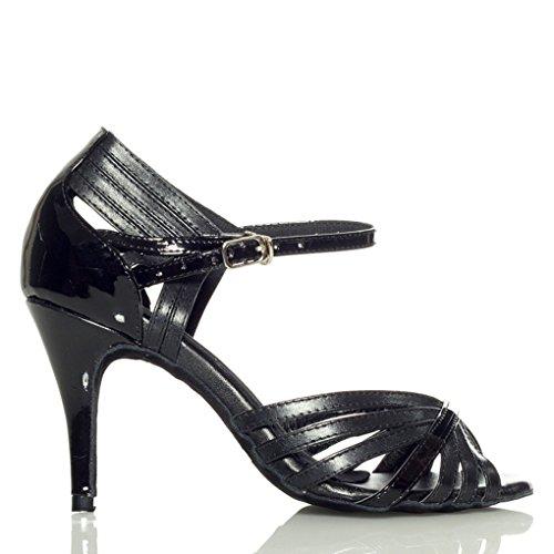 F&M Fashion ,  Damen Tanzschuhe , Schwarz - schwarz - Größe: 37