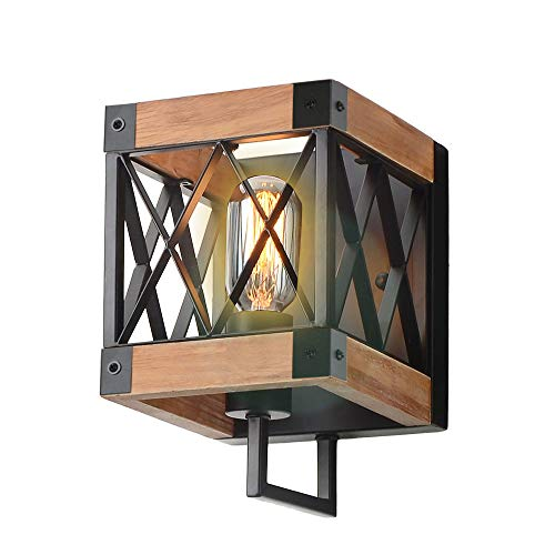 Eumyviv 1-Light Rustic Wood Wall Lamp with Mesh Cage Industrial Wall Sconce, Retro Bathroom Lamp Log Cabin Home Vintage Edison Sconce Light Fixture, Brown Wood and Black Metal(W0057) (Best Log Cabin Homes)