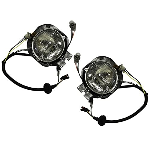 Headlights Depot FRONT HEADLIGHT Freightliner Century S HL ASY DIAMOND DESIGN OUTER SET