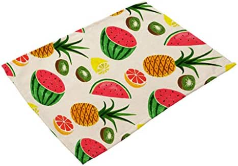 DEBRICKS Fruit Printed Dish Pads Table Placemats, Waterproof Cup Coffee Coaster Bowl Pot Non-Slip Mats Heat Resistant Indoor for Kitchen Dinning Mat, 2Pcs