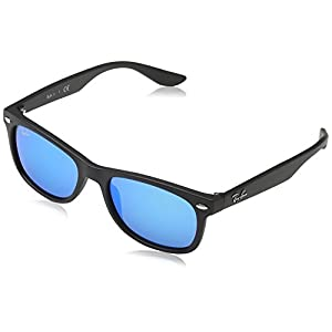 Ray-Ban Unisex-Child New Wayfarer Junior Sunglass 0RJ9052S Non-polarized Iridium Square Sunglasses, MATTE BLACK 100S55, 48 mm