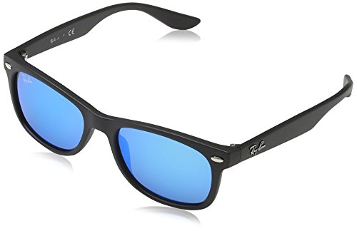 Ray-Ban Junior RJ9052S New Wayfarer Kids Sunglasses, Matte Black/Blue Mirror, 48 ()