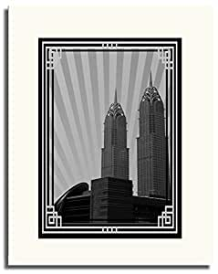 Al Kazim Towers Metro - Black And White With Silver Border No Text F05-m (a5) - Framed
