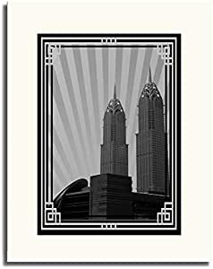 Al Kazim Towers Metro - Black And White With Silver Border No Text F05-nm (a1) - Framed