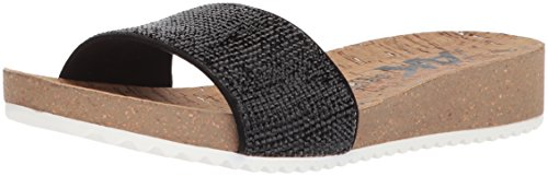Anne Klein AK Sport Women's Qtee Slide Sandal, Black Synthetic, 8.5 M US