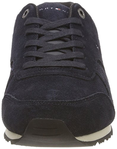 403 Bleu Hilfiger Midnight Runner Iconic Homme Sneakers Tommy Textile Basses Suede 6wqOvv8T