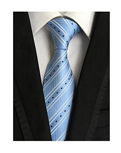 (Men Baby Blue White Silk Ties Repp Office Meeting Vintage Spring Stripe Neckties)