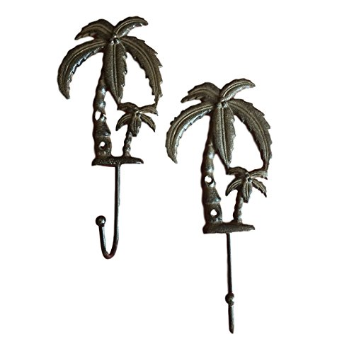 Cast Iron Palm Tree Hooks Set of 2