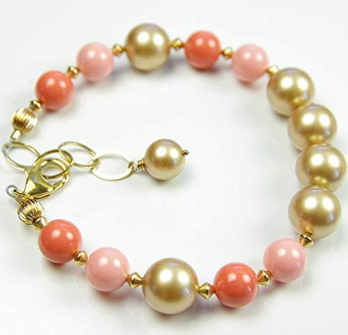 Orange Coral Bracelet Gold Swarovski Pearl 35th Wedding Anniversary