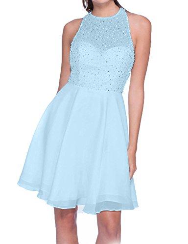 Attraktive Damen Kurzes Mini Blau Hell Chiffon Charmant Tanzenkleider Abendkleider Promkleider Cocktailkleider S5wqExUnd