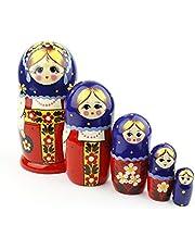 Muñecas Rusas, 5 Matrioskas | Muñeca Babushka de Madera, Hecha a Mano en Rusia