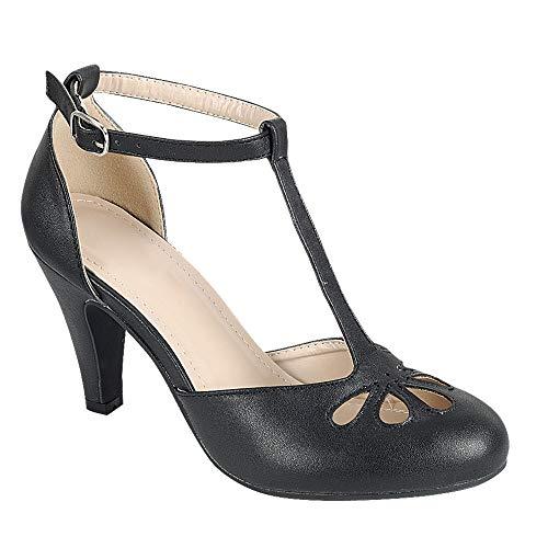 Women's Mary Jane Retro Round Toe T Strap Teardrop Cut Out Low Kitten Heel Dress Oxford Pumps Black 8.5 ()