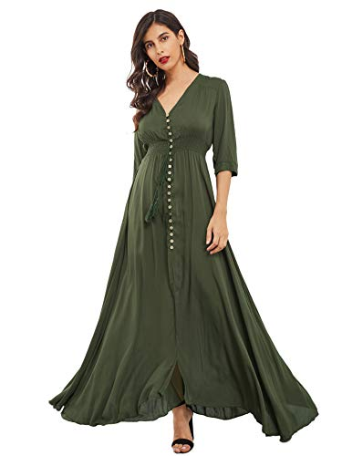 Milumia Women's Button Up Split Floral Print Flowy Party Maxi Dress Army Green Small ()