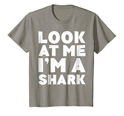 Kids Look At Me I'm A Shark T-Shirt Halloween Costume Shirt 8 Slate